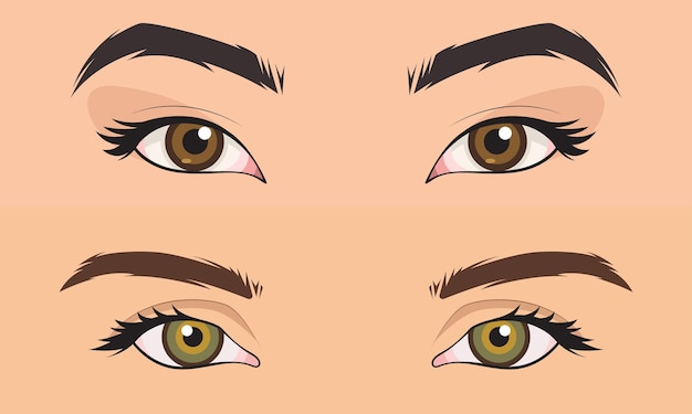 Hand drawn set men and girl close up eyes area vector