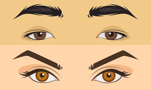 Hand drawn set men and girl close up eyes area