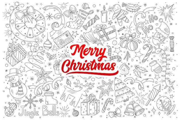 Hand drawn set of merry christmas doodles with red lettering