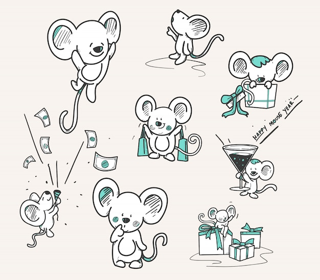 Hand drawn set of mouse