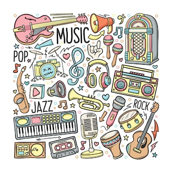 Hand drawn set of music in doodles color