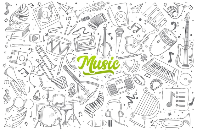 Hand drawn set of music doodles with green lettering