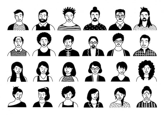 手描きのアバター、さまざまな民族性とフラットスタイルの年齢の人々の頭のセット。多国籍の人々は、ソーシャルネットワークラインアイコンコレクションに直面しています。