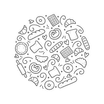Набор рисованной хлебобулочных и выпечки, хлеб, кондитерские изделия, круассан, торт, пончик. стиль эскиза каракули.