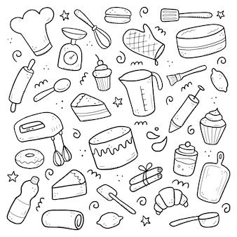 ベーキングと調理要素、ミキサー、ケーキ、スプーン、カップケーキ、スケールの手描きのセット。落書きスケッチスタイル。デジタルブラシペンによって描かれたパン屋の要素。アイコン、メニュー、レシピデザインのイラスト。