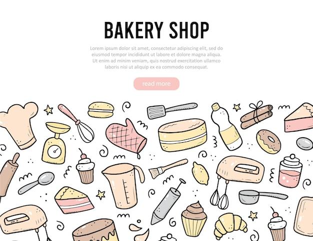 Ручной обращается набор инструментов для выпечки и приготовления пищи, миксер, торт, ложка, кекс, весы. стиль эскиза каракули. иллюстрация для рамки, плаката, баннера, меню, книги рецептов, магазина выпечки, дизайна сайта пекарни.