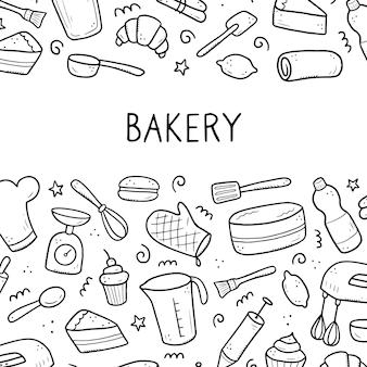 ベーキングと調理ツールの手描きセット