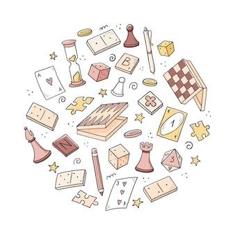 ボードゲーム要素、カード、チェス、砂時計、チップ、サイコロ、ドミノの手描きのセット。落書きスケッチスタイル。