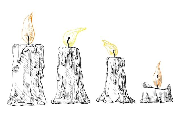 燃えるろうそくの手描きのセット。スケッチスタイルのベクトルイラスト。