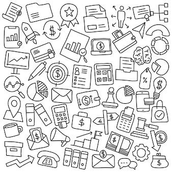 ビジネスと金融の手描きセット