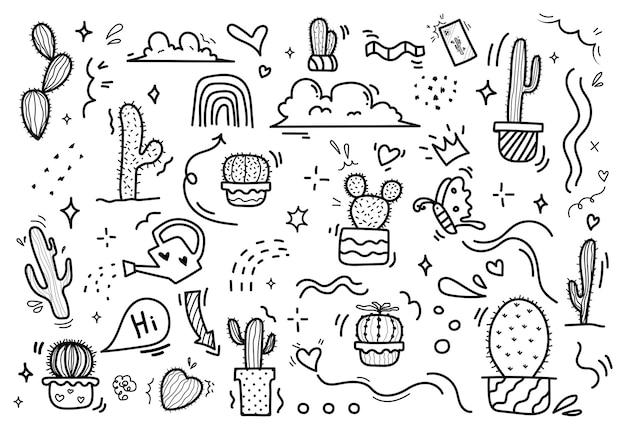 サボテンの手描きセット。