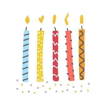 炎のキャンドルの手描きセットかわいいフラットイラスト誕生日の挨拶のお祝い