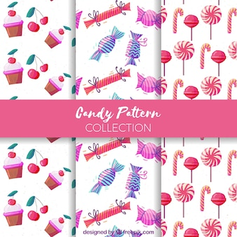 Hand drawn set of candy patterns
