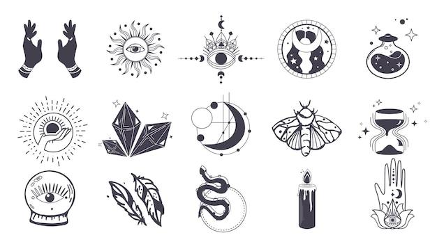 Набор рисованной небесных тел и мистических магических элементов