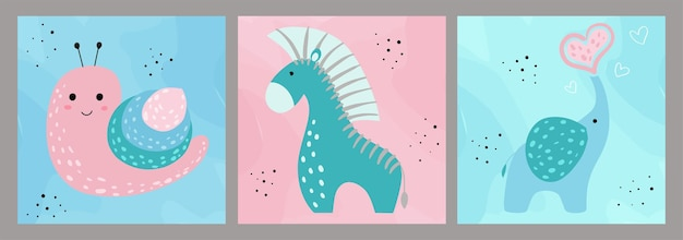 Ручной обращается набор детских творческих иллюстраций в минимальном плоском стиле с улиткой, слоном, зеброй