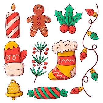 クリスマス要素の手描きセット