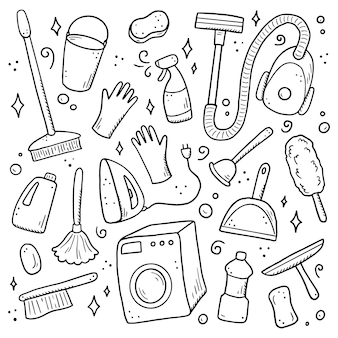 クリーニング機器、スポンジ、掃除機、スプレー、ほうき、バケツの手描きのセット。コミック落書きスケッチスタイル。デジタルブラシペンで描かれたきれいな要素。アイコン、フレーム、背景のイラスト。