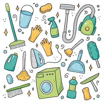 クリーニング機器、スポンジ、掃除機、スプレー、ほうき、バケツの手描きのセット。コミック落書きスケッチスタイル。