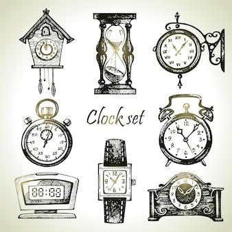 손으로 그린 시계 및 시계 세트