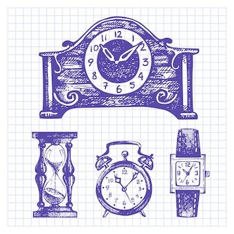 Набор рисованной часов и часов
