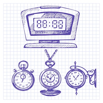時計と時計の手描きのセット