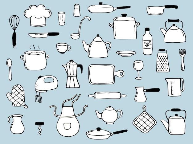 손으로 그린 요리 요소 세트. 낙서 스케치 스타일. 아이콘, 메뉴, 레시피 디자인에 대한 그림입니다.