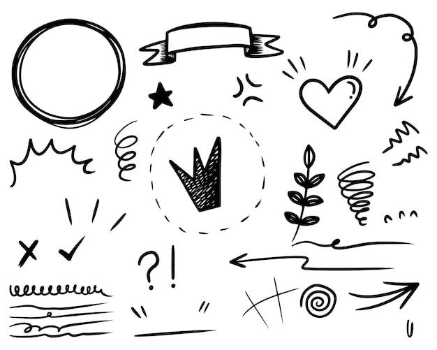 손으로 그린 곱슬머리, 스와시, 급습 세트. 추상 화살표, 화살표, 심장, 사랑, 별, 잎, 태양, 빛, 왕관, 왕, 여왕, 컨셉 디자인을 위한 낙서 스타일. 벡터 일러스트 레이 션.