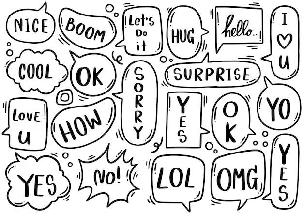 Набор рисованной милый пузырь речи с текстом в стиле каракули