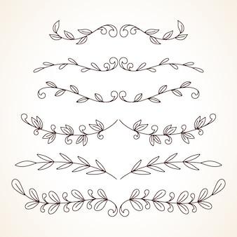 손으로 그린 장식 프레임 테두리 페이지 장식 요소 집합