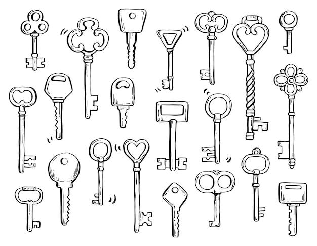 장식용 장식 요소가 있는 다른 골동품 키의 손으로 그린 세트. 마커 및 브러시 펜으로 그린 오래 된 빈티지 벡터 일러스트 레이 션. 자신의 디자인을 위한 낙서 스케치 스타일의 핵심 요소입니다.