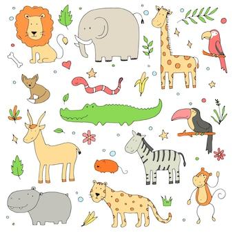 Набор рисованной различных животных джунглей: слон, лев, зебра, крокодил, жираф. симпатичные векторные иллюстрации для детских, детских текстур, ткани, дизайна обоев. мультфильм стиль эскиз каракули.