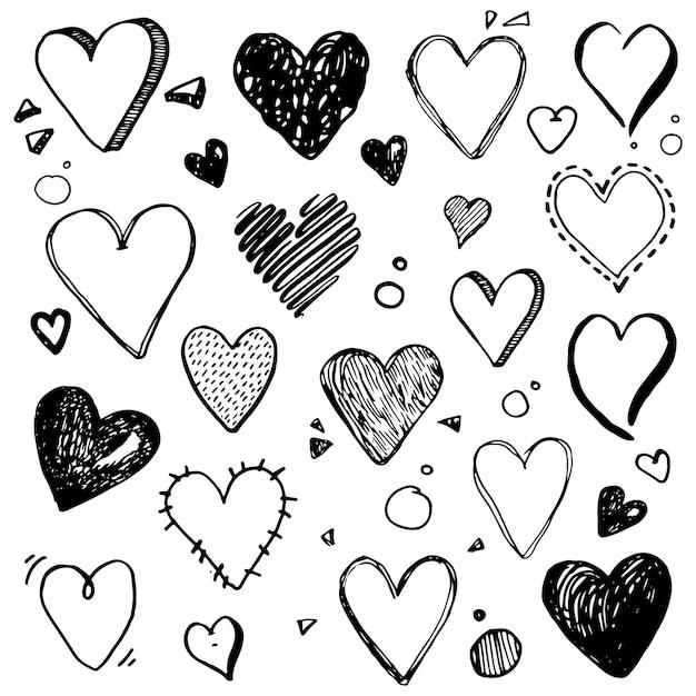 ハートの形のさまざまな愛のシンボルの手描きのセット。あなたのアイコンデザイン、バレンタインデーカードのベクトルイラストをカットします。落書きスケッチスタイル。筆ペンで描かれたハートの要素。分離されたベクトル。