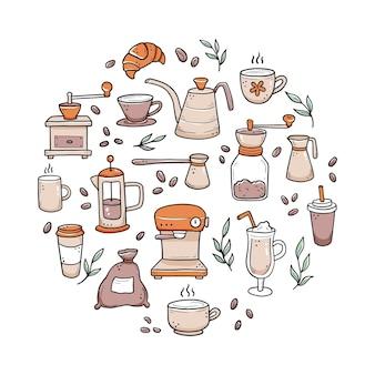 さまざまな種類のコーヒーカップ、マグカップ、ポット、コーヒーマシンの手描きセット。落書きスケッチスタイル。