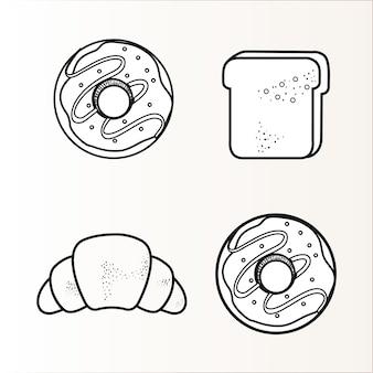 Ручной обращается набор пончиков и хлеб на белом фоне. векторные иллюстрации.