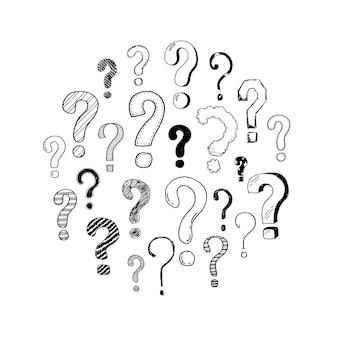 落書きクエスチョンマークの手描きセット。あなたのアイコン、背景、壁紙のデザインのベクトルイラスト。漫画のスケッチスタイルの質問は、ペンとマーカーで描かれた質問をします。