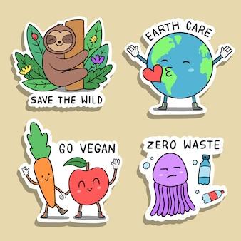 Набор рисованной экологии значки