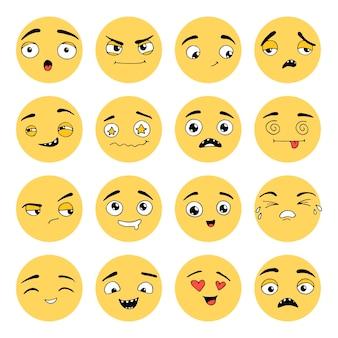 손으로 그린 이모티콘 세트. 다른 얼굴 감정: 미소, 슬픔, 울음, 행복, 놀람, 화. 아이콘, 웹, 펜으로 그린 키즈 디자인을 위한 이모티콘 요소입니다. 벡터 일러스트 레이 션 낙서 스케치 스타일입니다.