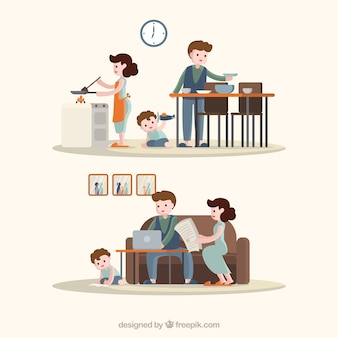 Hand drawn set of families doing different activities