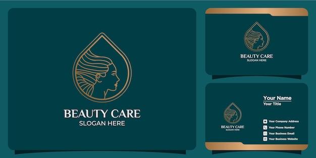 Ручной обращается набор женских шаблонов логотипов для красоты и визиток