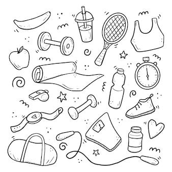 손으로 그린 피트니스, 체육관 장비, 활동 라이프 스타일 개념의 집합입니다. 낙서 스케치 스타일. 디지털 브러시 펜으로 그린 스포츠 요소. 아이콘, 프레임, 배경 그림입니다.