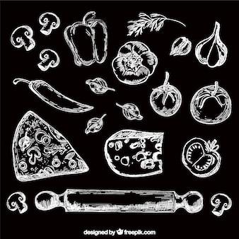 手描きの食べ物セット