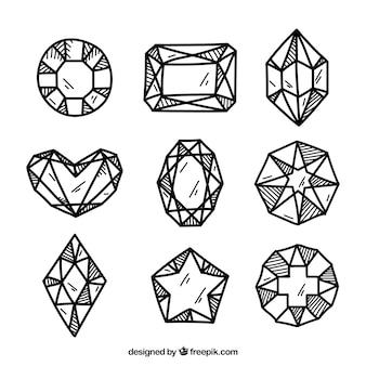 偉大な宝石の手描きセット