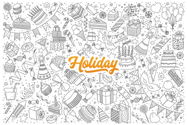 オレンジ色の文字で休日の落書きの手描きのセット