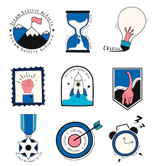 Hand drawn set of idea and business symbols illustration