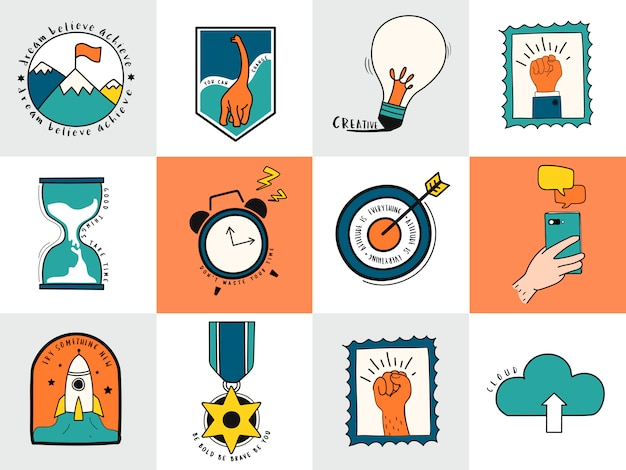 Рисованной набор идей и символов бизнес-символов