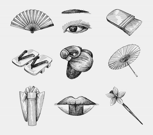 日本の女性の伝統的なアクセサリー、衣類、化粧の手描きセット。ヘアウィッグ、傘、扇子、木製サンダル、目と眉メイク、ヘアコーム、着物、芸者唇、化粧筆