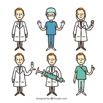 男性の医師の手描きのセット