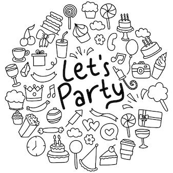パーティー飾りの手描きセット