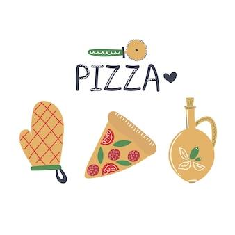 Ручной обращается набор элементов пиццы вкусная еда концепция нож для пиццы кусок пиццы рукавица для духовки