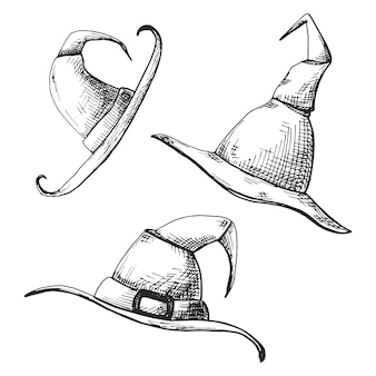 손으로 그린 뾰족한 모자 흰색 배경에 고립의 집합입니다.